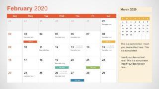 February Calendar PowerPoint Template for 2020