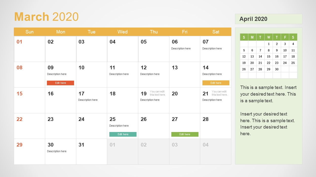 March Calendar PowerPoint Template for 2020