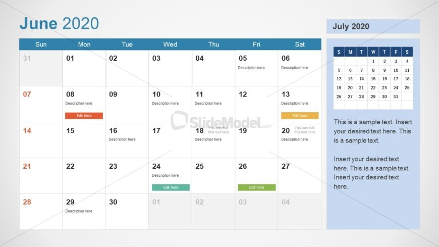 June Calendar PowerPoint Template for 2020
