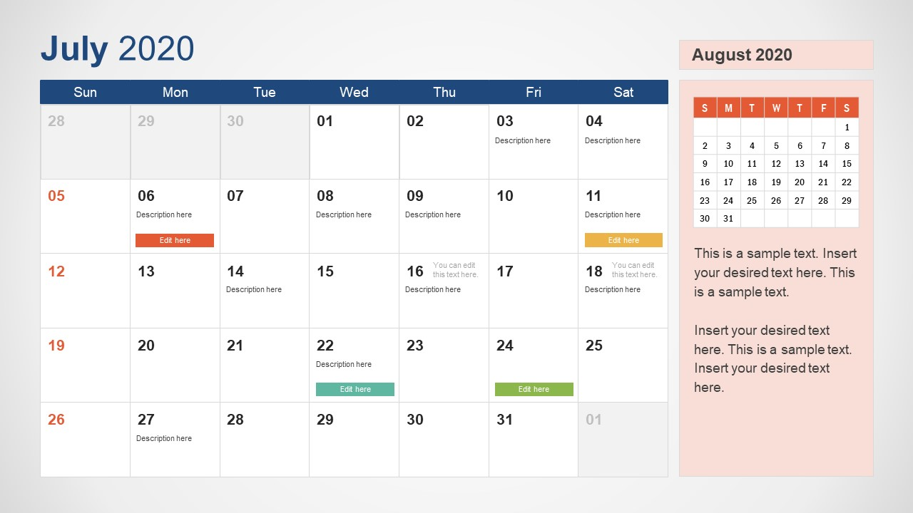 July Calendar PowerPoint Template for 2020