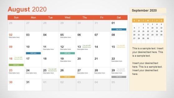 2020 Calendar PowerPoint August
