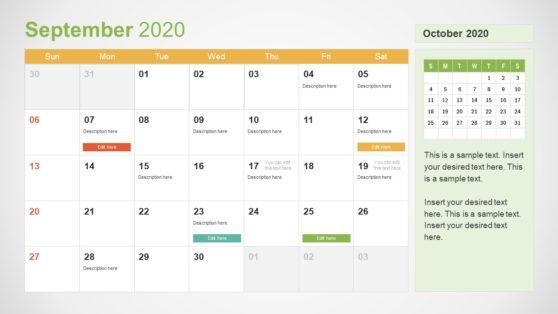 2020 Calendar PowerPoint September