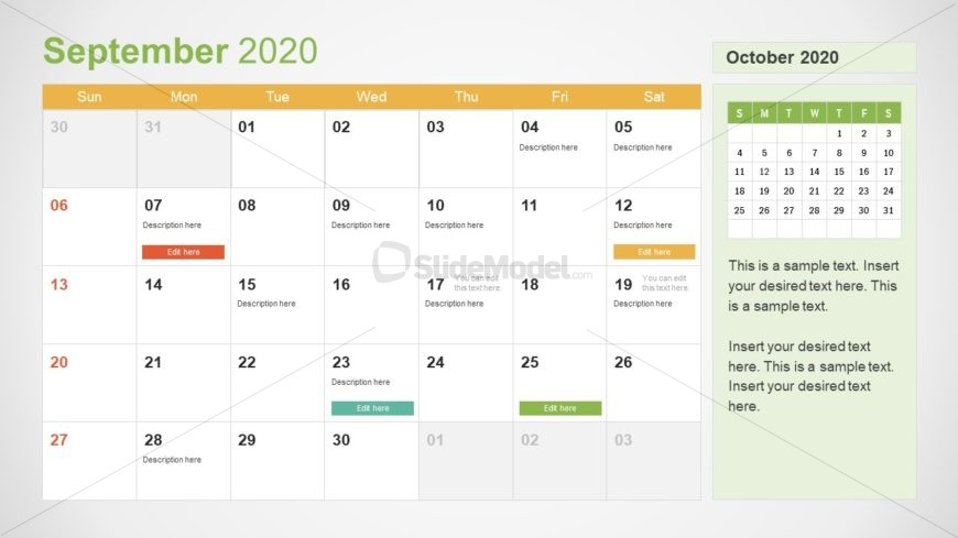 September Calendar PowerPoint Template for 2020