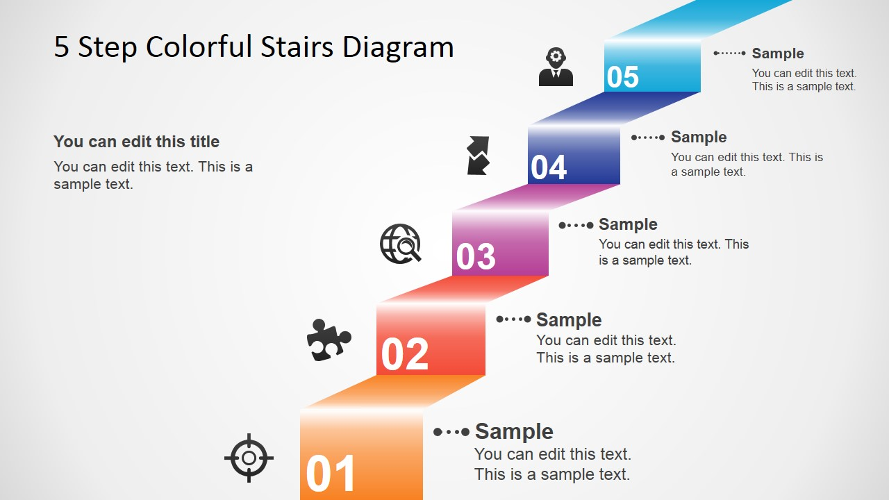 5 Step Colorful Stairs Diagram For Powerpoint