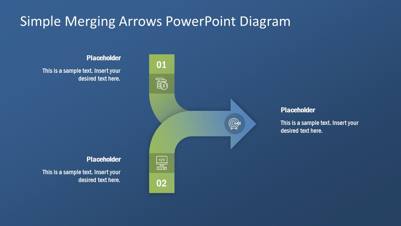 Converging PowerPoint 2 Arrow  SlideModel