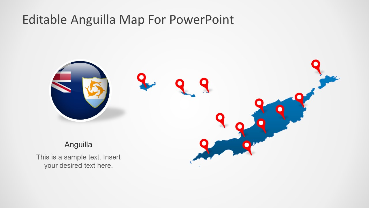 Template of Editable Anguilla Map