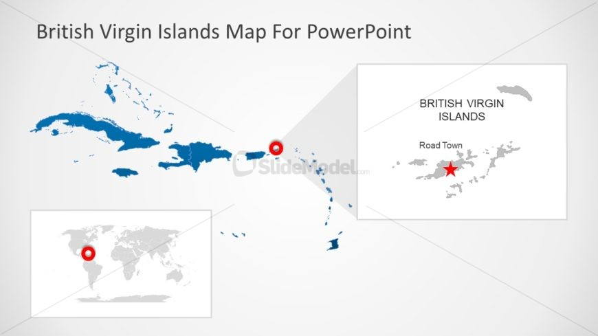 Blue Silhouette Map PowerPoint