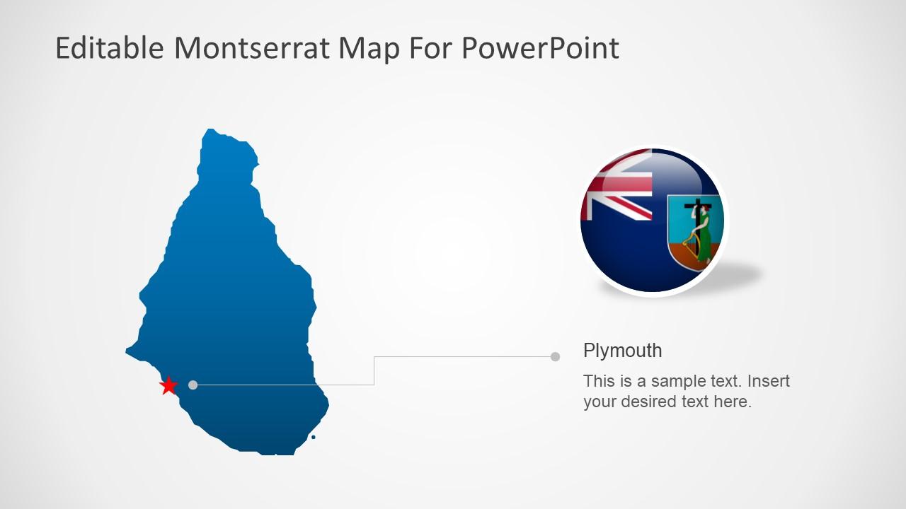 PPT Bule Map Template of Montserrat