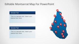Flat Map of Montserrat in PowerPoint
