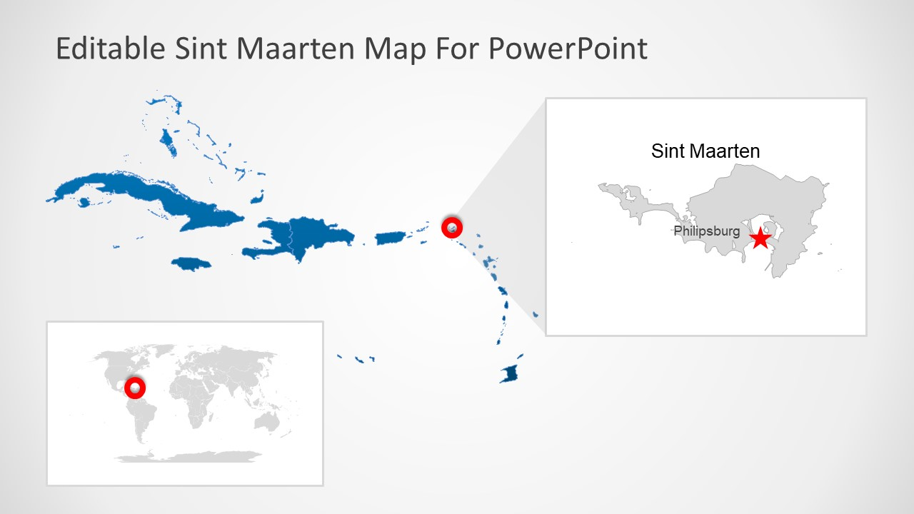 Silhouette Map of Sint Maarten