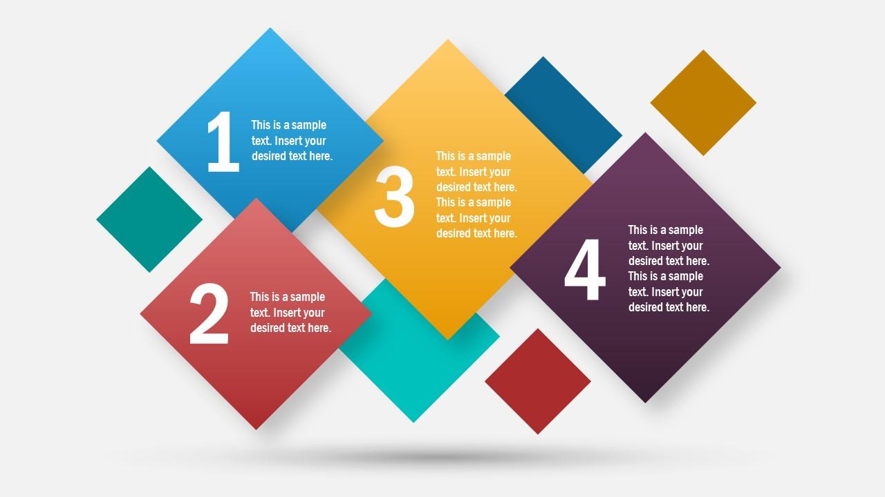 4 Steps Rhombus PowerPoint Template