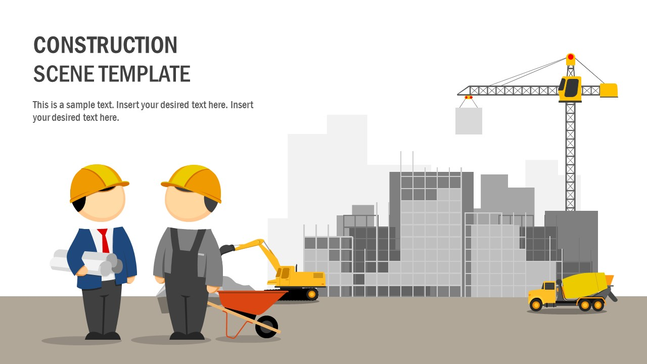 Clipart PowerPoint Template for Construction