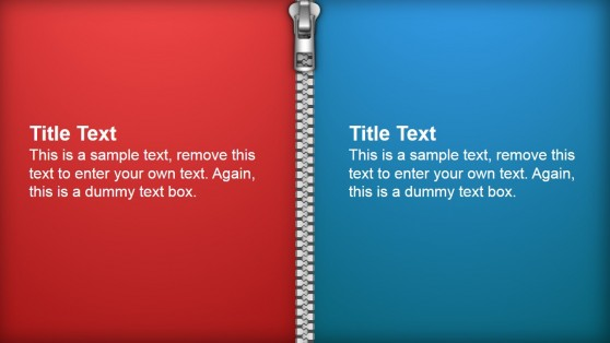 Two Vertical Tiles Separated by Zipper PowerPoint Shapes