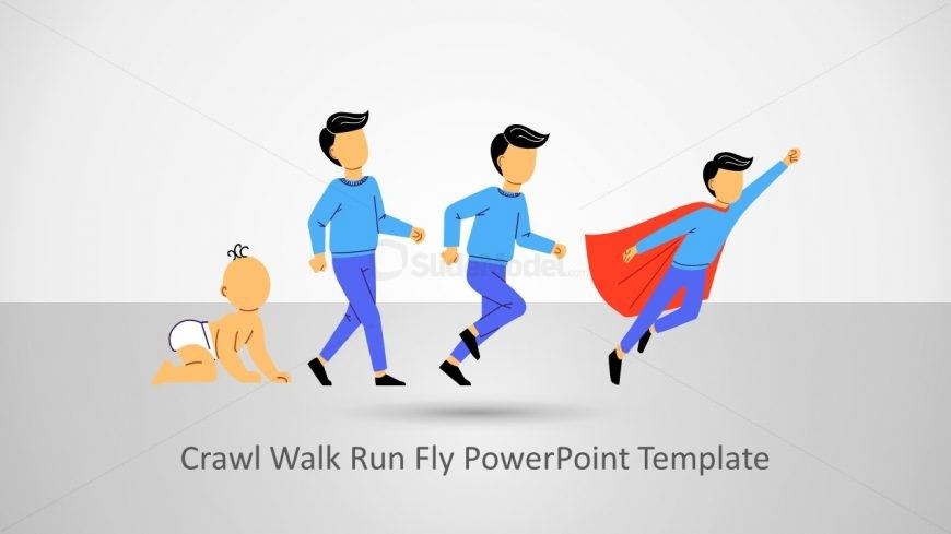 Presentation Template of Man Crawl Walk Run Fly