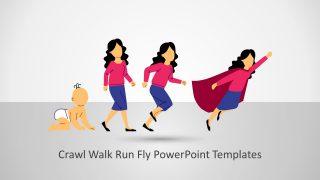 Woman Crawl Walk Run Fly PowerPoint Template