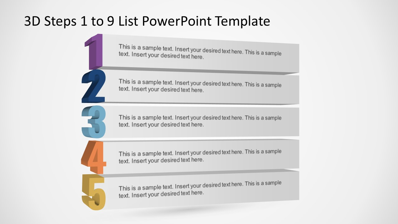 PowerPoint Bullet Points Template 1 to 5 List