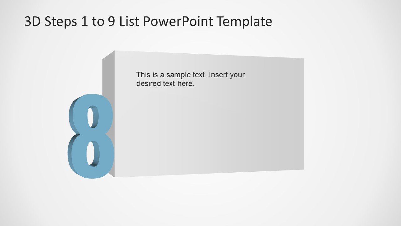 PowerPoint Number 8 List 3D Template