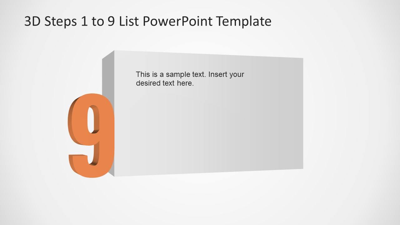 PowerPoint Number 9 List 3D Template