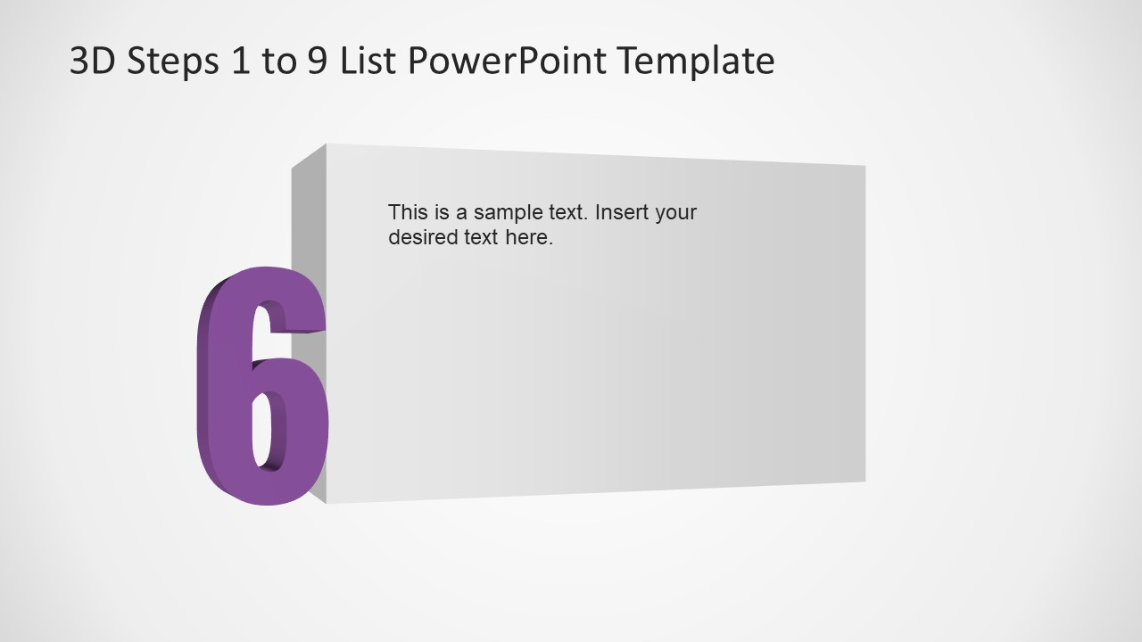 PowerPoint Number 6 List 3D Template