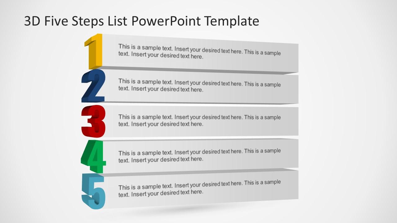Presentation of 5 Steps Bullet Lists