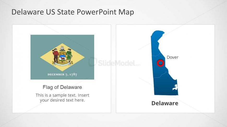 Flag and Map Slide for Delaware US State