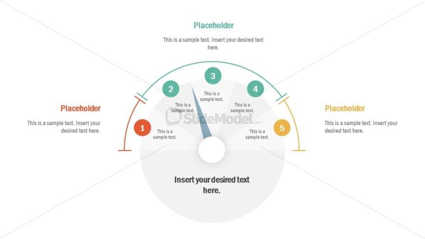PowerPoint Diagram of 5 Steps Gauge