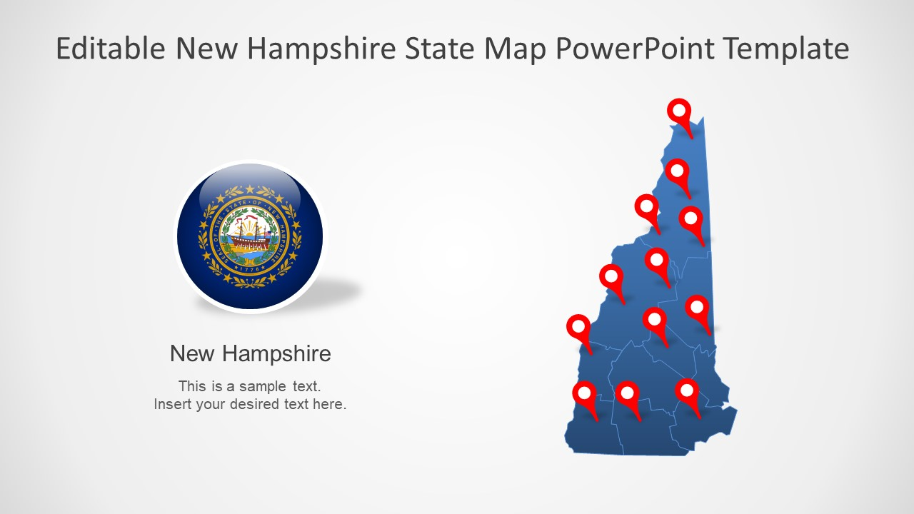 Editable PowerPoint Map for New Hampshire