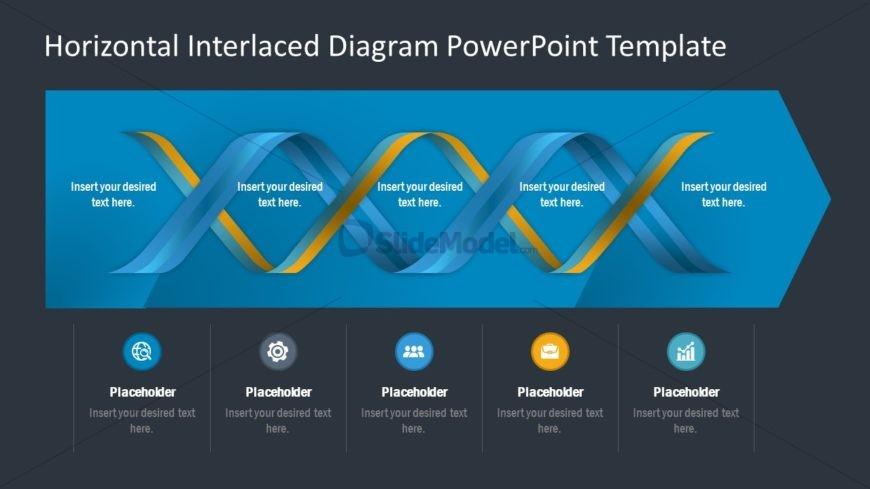 Presentation of 5 Steps Horizontal Diagram