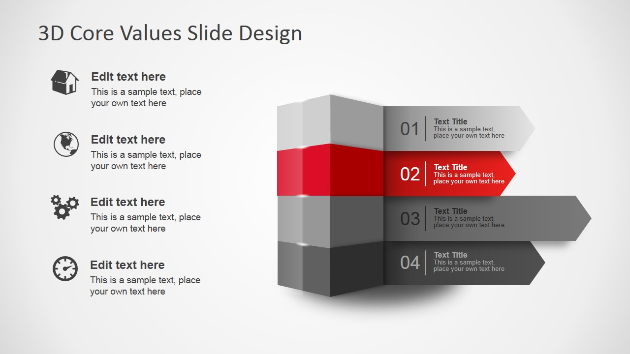 3d core values slide design for powerpoint