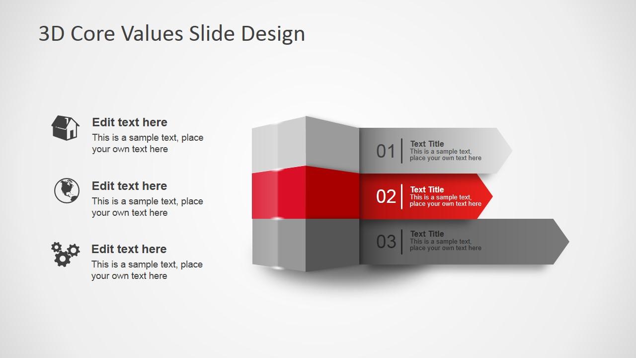 3D Core Values Slide Design for PowerPoint SlideModel