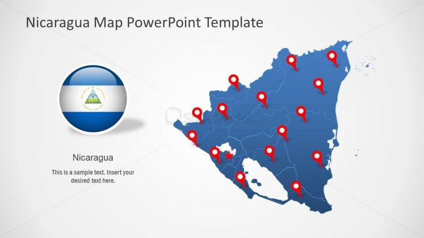 Editable Map PowerPoint Nicaragua