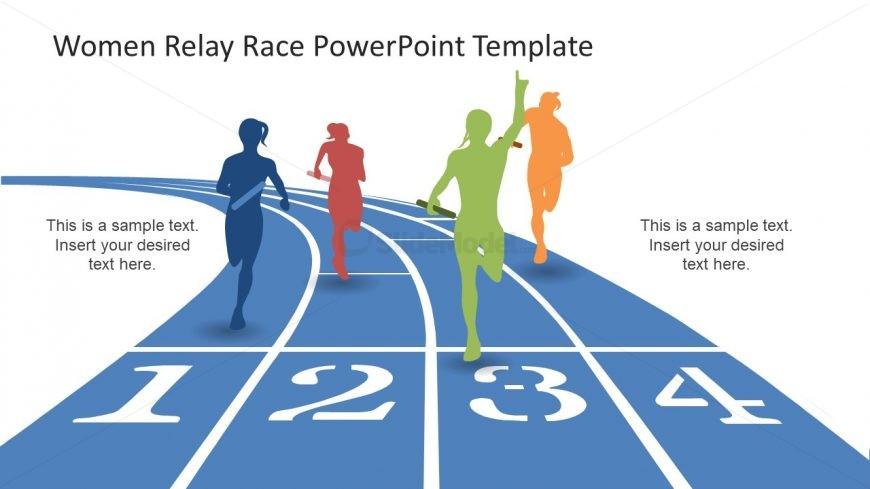 Slide of Women Racing Relay PowerPoint