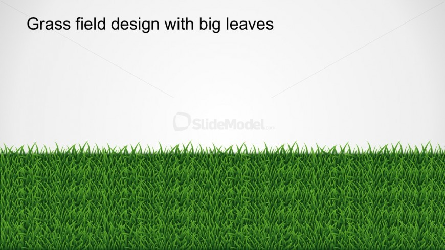 Editable Grass Field Design With Big Leaves PowerPoint Shapes