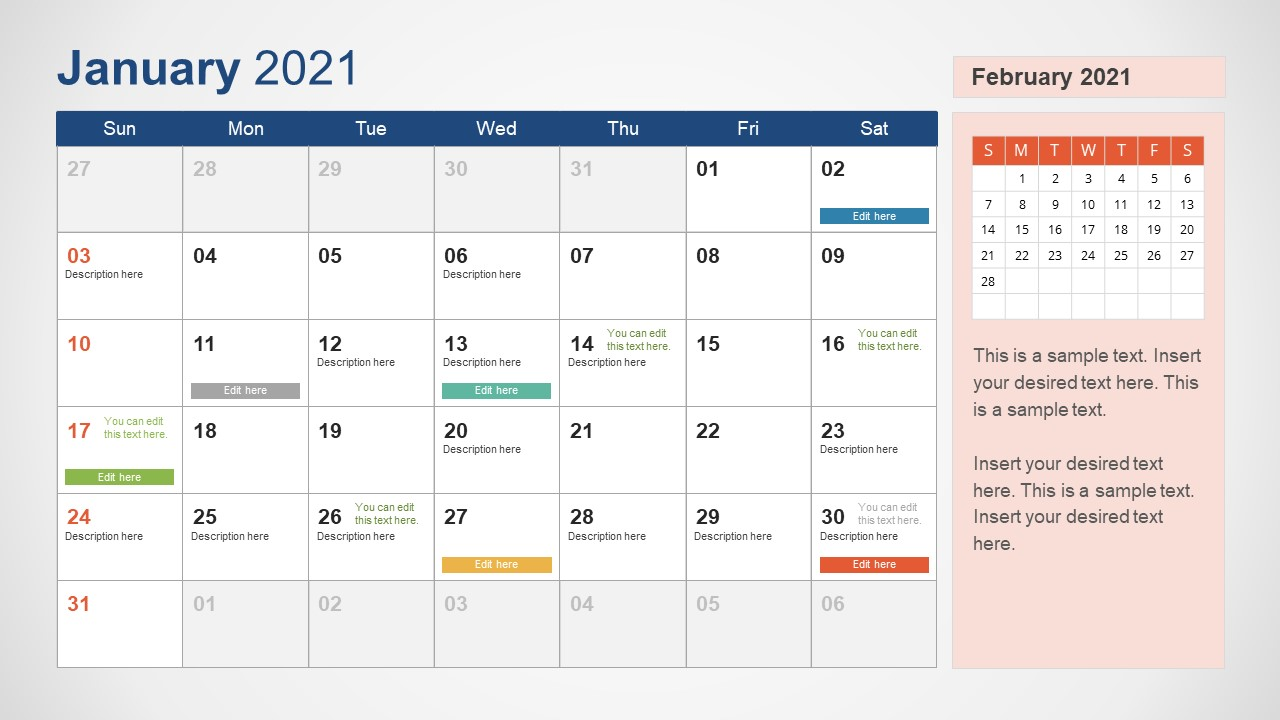 January 2021 Calendar Template Slide