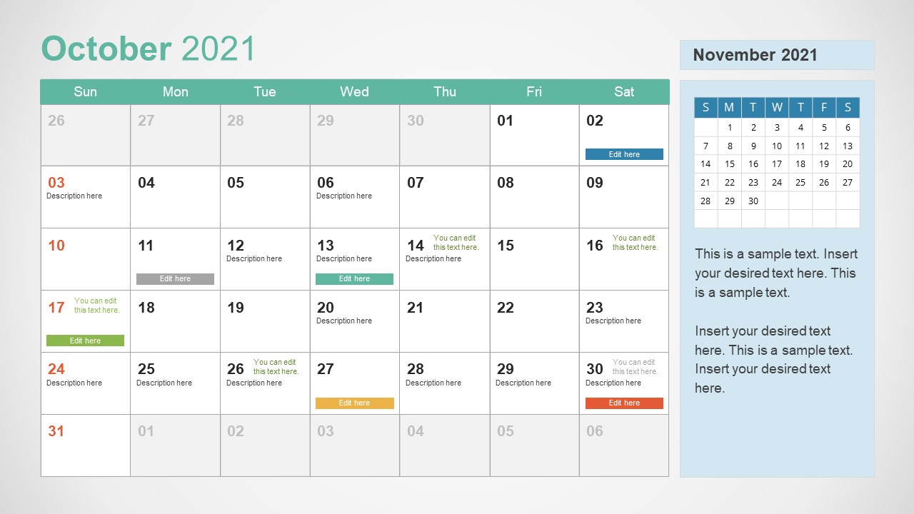 October 2021 Calendar Template Slide