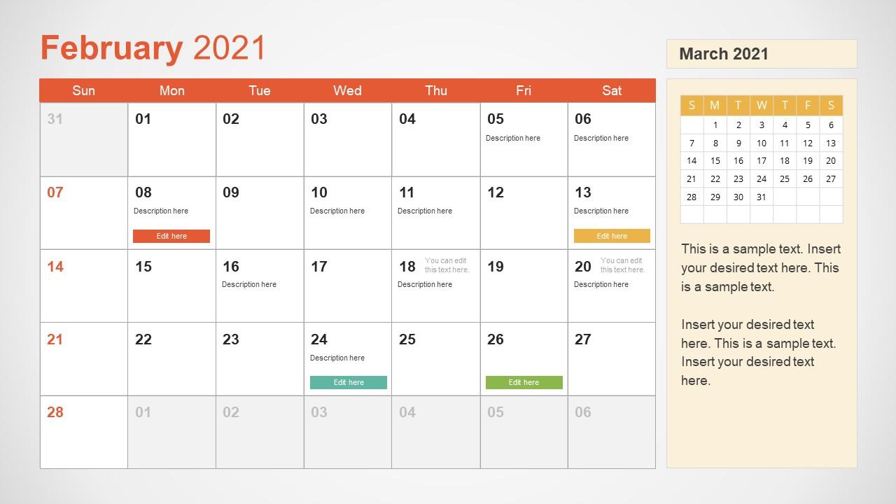 February 2021 Calendar Template Slide