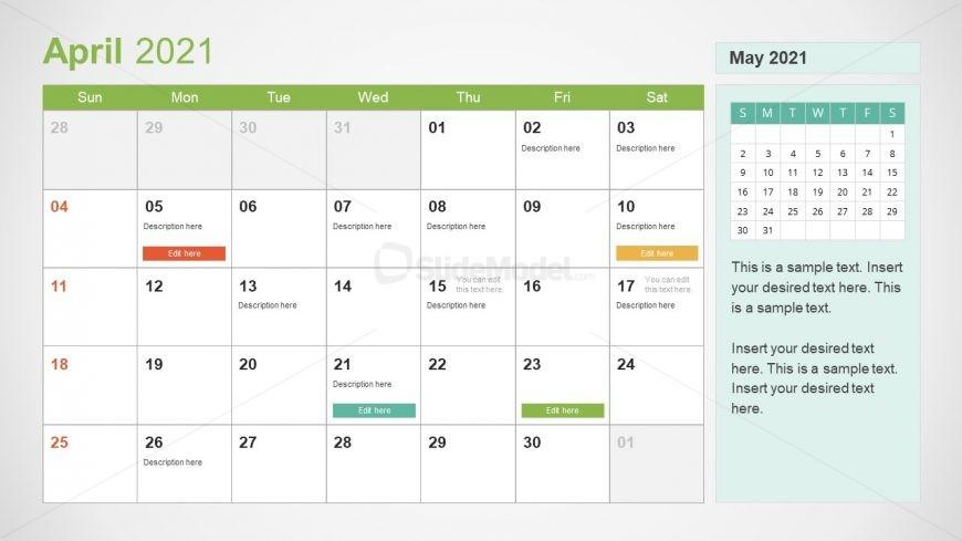 April 2021 Calendar Template Slide