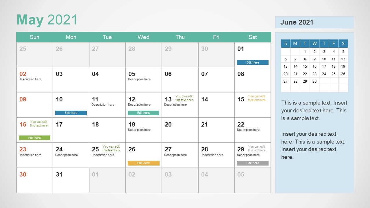 May 2021 Calendar Template Slide