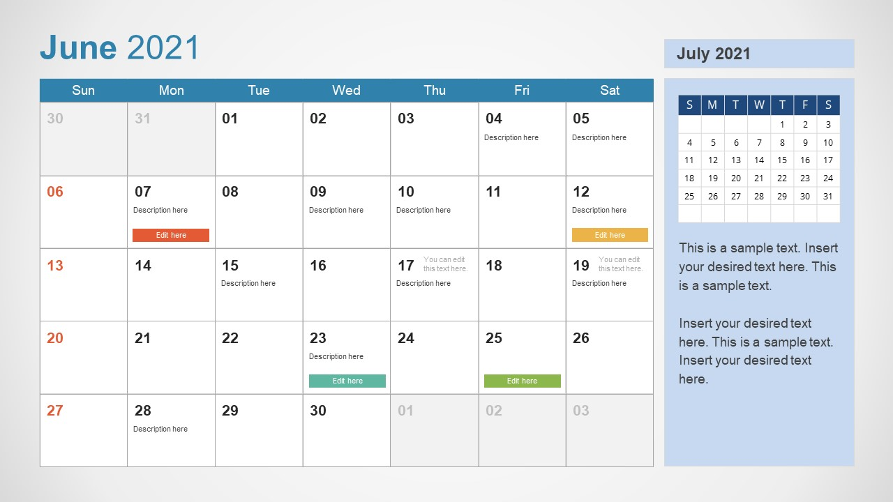 June 2021 Calendar Template Slide