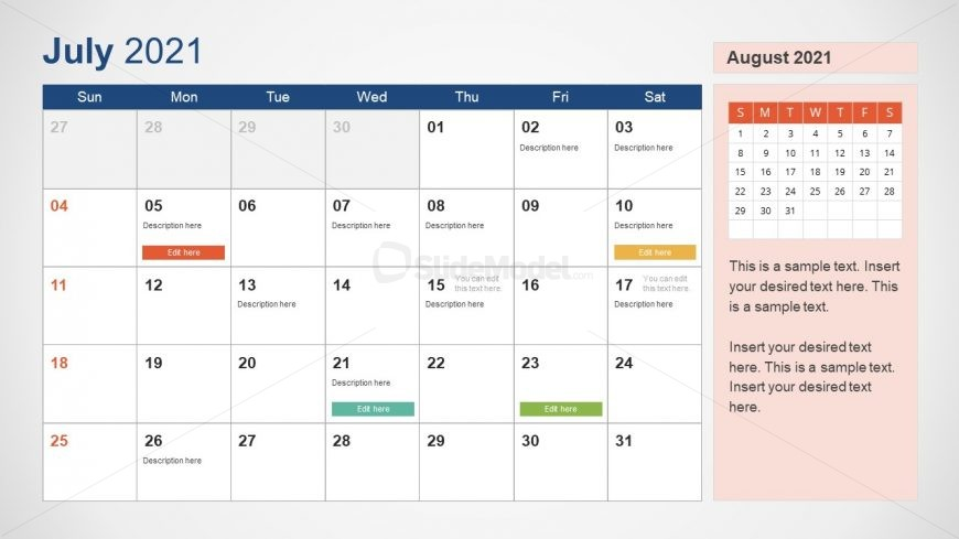July 2021 Calendar Template Slide