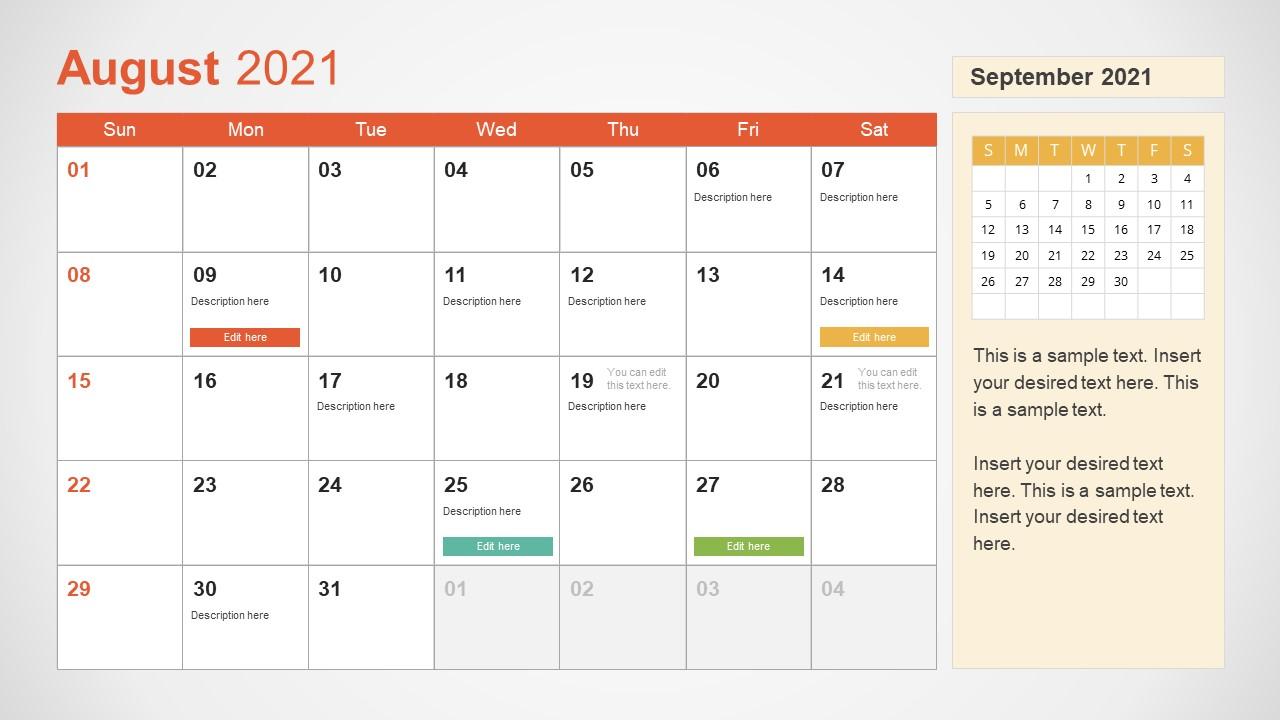 August 2021 Calendar Template Slide
