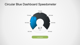 Circular Blue Dashboard PowerPoint Speedometer