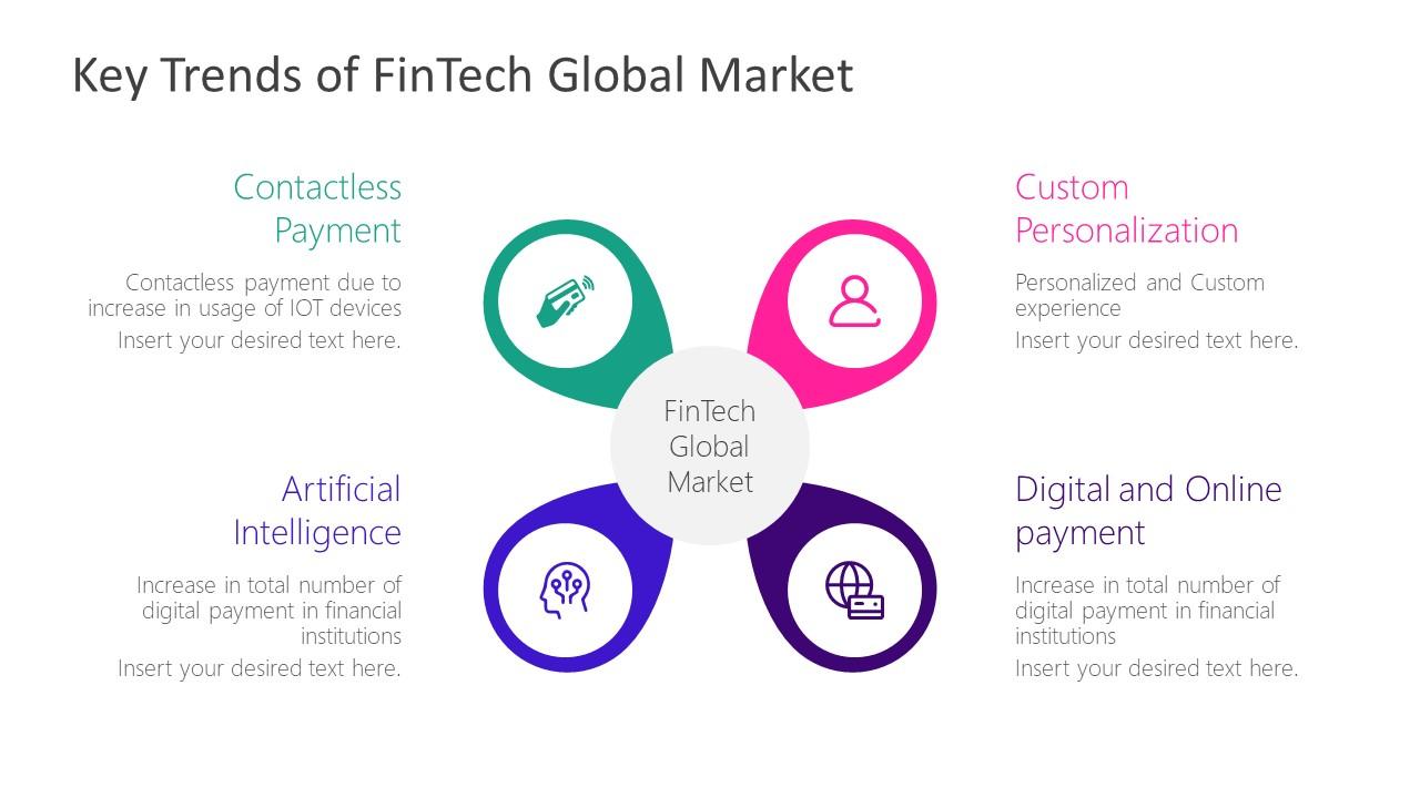 Fintech Global Market 4 Steps Diagram