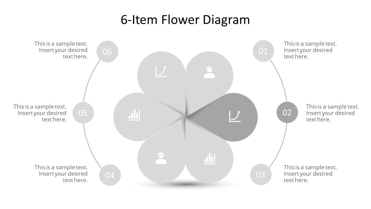 Editable PowerPoint Step 2 Flower Diagram