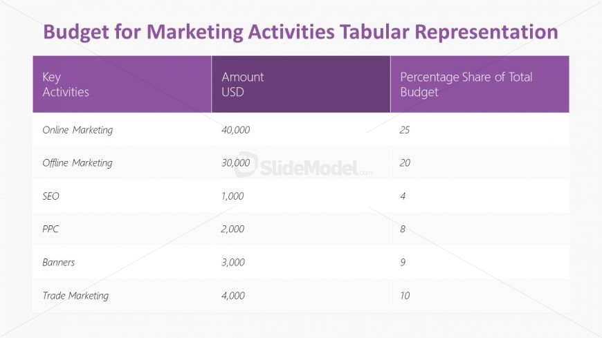 Presentation of Marketing Budget in Table Layout