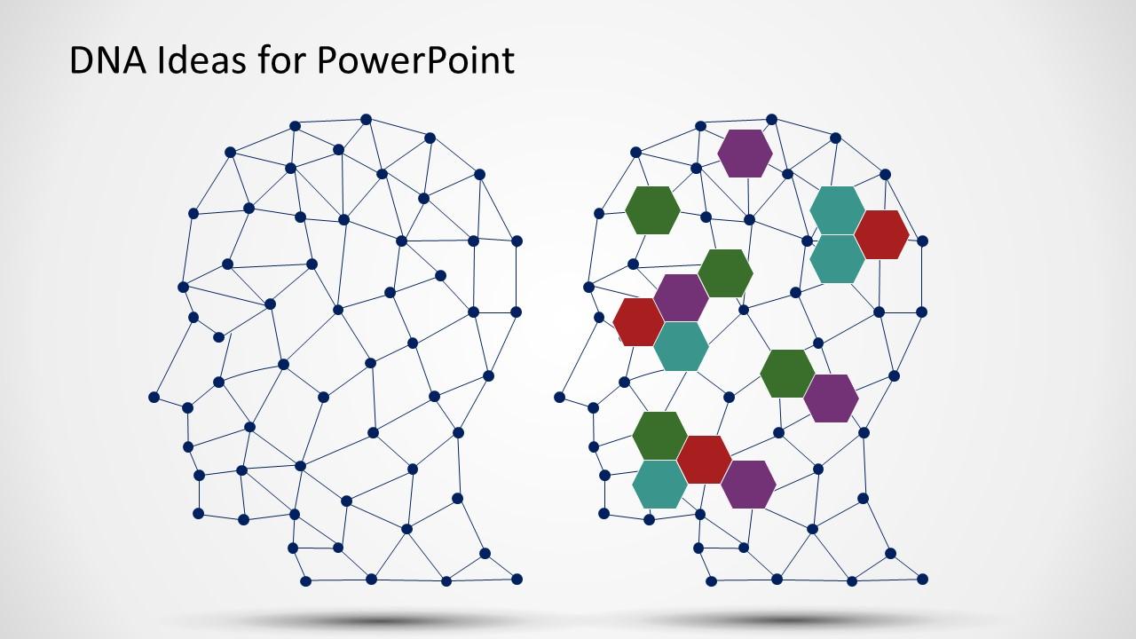 Dna ideas head illustration powerpoint templates slidemodel network dna structure presentation toneelgroepblik Images