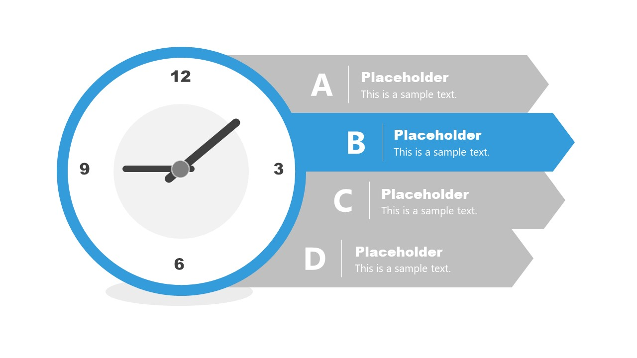Time Management 4 Steps Diagram of Clock