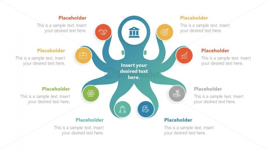 PowerPoint 8 Tentacles Diagram Octopus