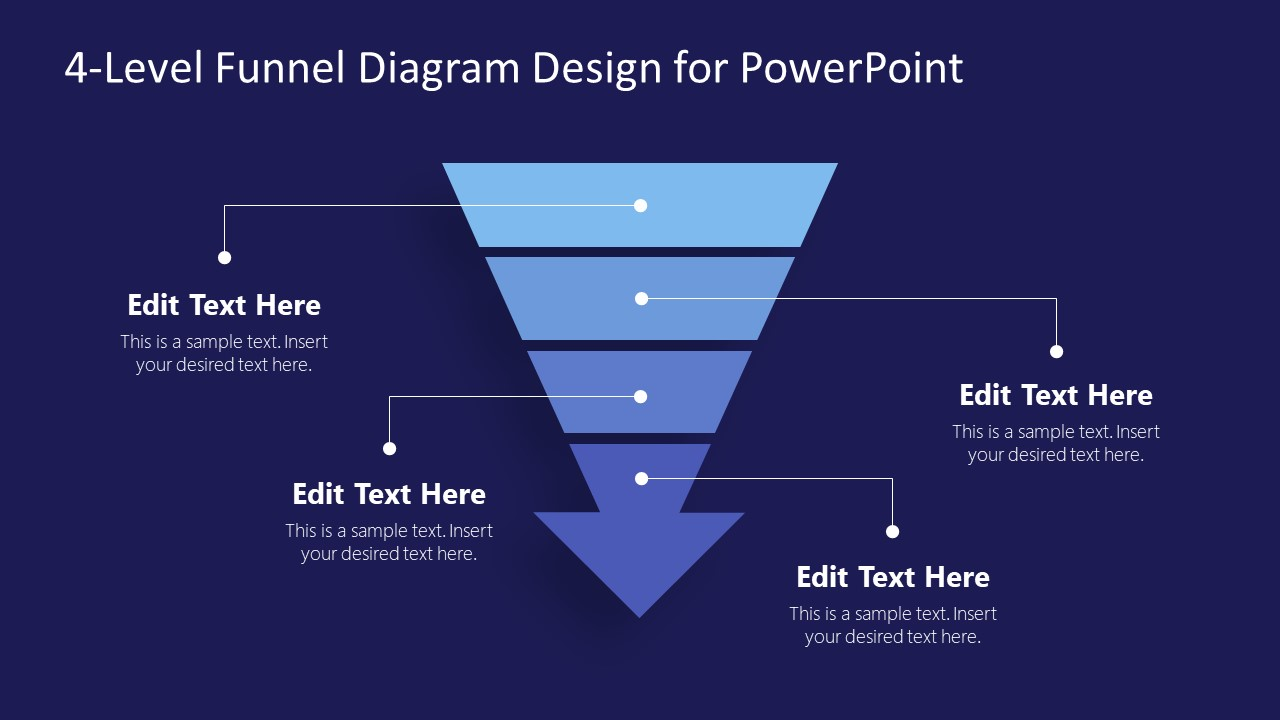 4 Steps Funnel with Arrow PowerPoint