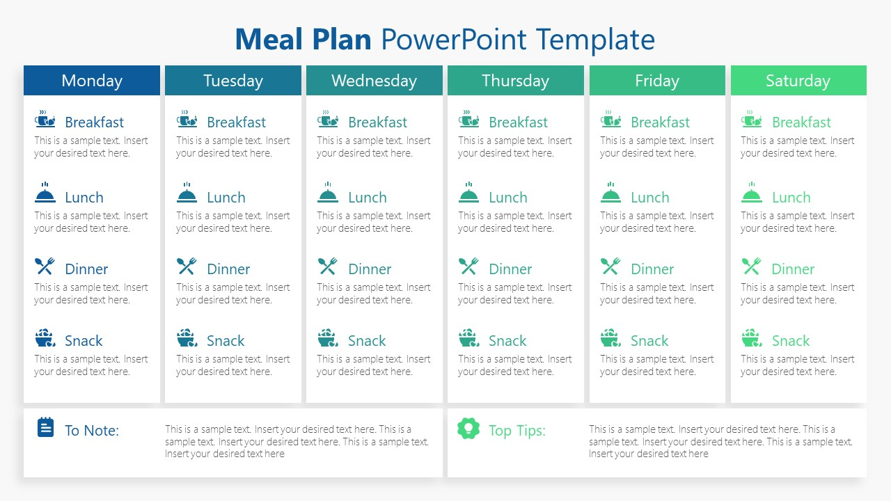 Template of Weekly Meal Plan PPT